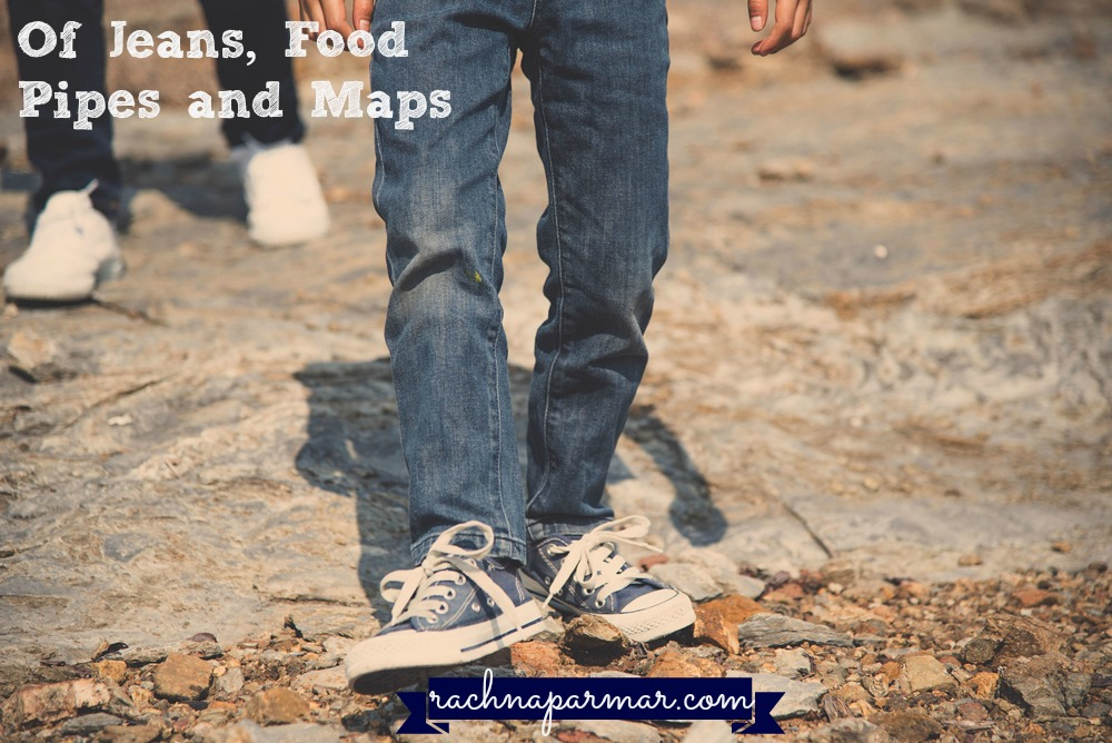 of jeans, food pipes and maps